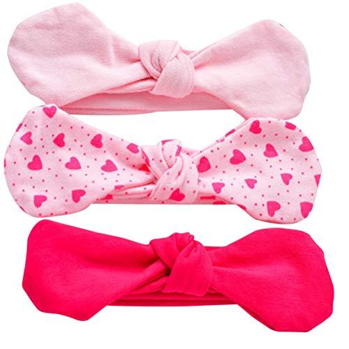 COUXILY 3 Stück Baby Mädchen Stirnband 100% Baumwolle Haarband mit Bogen für 0-24 Monaten (B11)