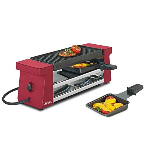 Spring Raclette 2 Compact Rot mit Alugrillplatte, Edelstahl, 12.4 x 21.2 x 36.8 cm