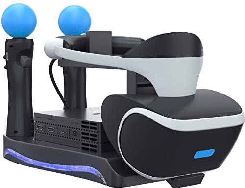 Skywin PSVR Stand - Charge, Showcase, and Display Your PS4 VR Headset and Processor - Compatible with Playstation 4 PSVR - Showcase and Move Controller Charging Station (Renewed)