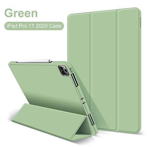 GOOJODOQ iPad pro 11 Hülle, Leichtgewicht PU Etui Hülle Eingebautem Magnet mit Ständer Funktion & Einschlaf/Aufwach Silikon Weicher TPU Folio Hülle für 2020 iPad pro 11