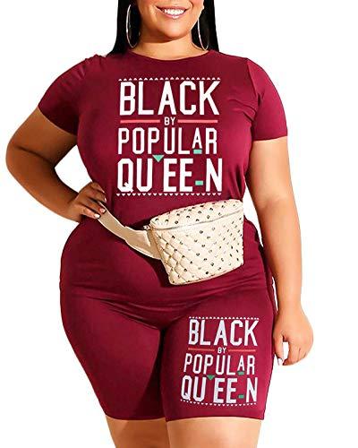 Plus Size 2 Piece Summer Outfits Women Biker Short Set Rompers Wine Red Burgundy 1X 2021