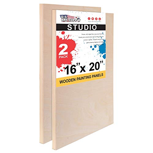 U.S. Art Supply 16' x 20' Birch Wood Paint Pouring Panel Boards, Studio 3/4' Deep Cradle (Pack of 2) - Artist Wooden Wall Canvases - Painting Mixed-Media Craft, Acrylic, Oil, Watercolor, Encaustic