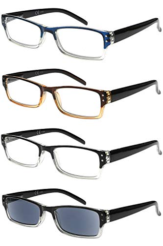 Eyekeeper 4-Pack Stylish Reading Glasses Includes Sunshine Readers +1.75, 623 ml - Mix Colour, VC-R012-4C00-175