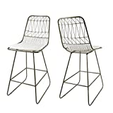 Christopher Knight Home 307603 Lilith Counter Stools, 26' Seats, Modern, Geometric, Light Brass Iron Frames with Ivory Cushion (Set of 2)