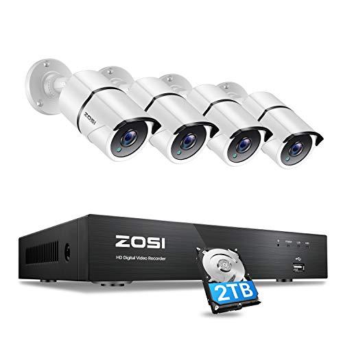 ZOSI 4K Ultra HD Sistema de Vigilancia Exterior 8CH H.265+ 8MP Grabadora DVR con (4) Cámara de Seguridad Interior Hogar, 2TB Disco Duro, Alarma de Movimiento