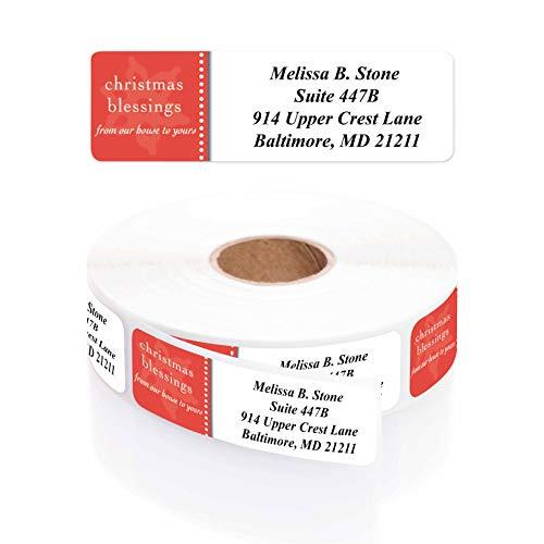 Modern Blessings Designer Rolled Return Address Labels with Elegant Plastic Dispenser