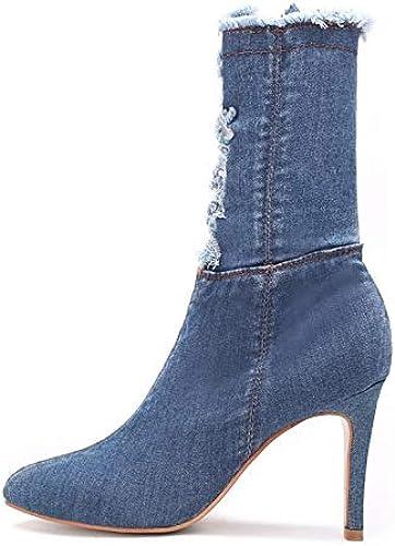 botas de Moda para mujer botas de otoño e Invierno de Mezclilla Tacón de Aguja Punta Estrecha botas a Media Pierna botas azul Marino azul Claro Fiesta y Noche,azul Claro,US6 EU36