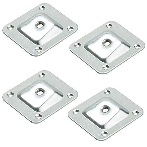 SOTECH 4er Set Montageplatten für Möbelfüße mit M8 Innengewinde Anschraubplatte mit 10° Neigung