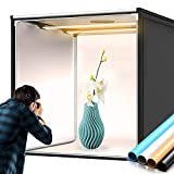 FOSITAN Bi-Color 2600K-8500K Photo Box, 39'/100cm Dimmable Photo Light Box Portable Folding Shooting Studio Tent with 4 Color Backdrops, 2 LED Light Bars,13000LM for Professional Product Advertising