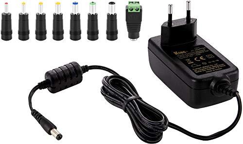 Ktec Universal AC DC Netzteil, Steckernetzteil 12V 3A (3000mA, 5,5/2,5mm) Adapter - Stromadapter mit 8er Hohlstecker Set, 183cm