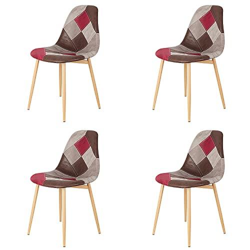 Injoy Life - Juego de 4 sillas de comedor de tela de retazos de moda, sillas de cocina, sillas de ocio con patas de metal para salón, dormitorio, recepción, color rojo