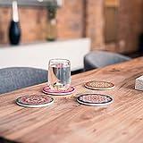 Flanacom Design Untersetzer im 4er Set – Dekorative Keramik Untersetzer für Glas, Tassen, Vasen, Kerzen und Töpfe auf ihrem Esstisch - Premium Boho/Orientalisch Design (4er Set Rund) - 3