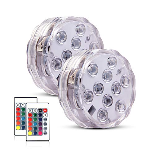 Submersible Led Lights Waterproof Lights,Above Ground Pool Light with Remote Controlled&Battery...