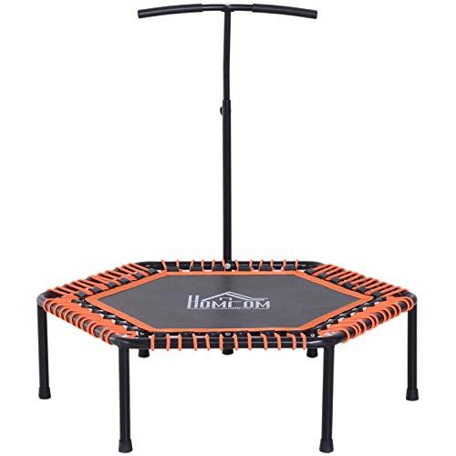 """HOMCOM 48"""" Mini Trampoline Rebounder Indoor Outdoor Mini Jumper with Adjustable Handle Hexagonal Orange"""
