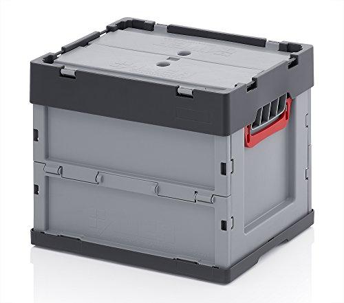 Profi-Faltbox mit Deckel 2er Set Auer Faltbox, FBB 43/32, 40x30x32 cm, 31 Liter, Behälter Stapelbehälter Aufbewahrungskiste Transportbox Plastikbox