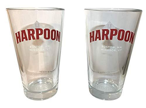 Harpoon IPA 16 oz Pint Glasses | Boston MA Windsor VT | Set of Two (2)