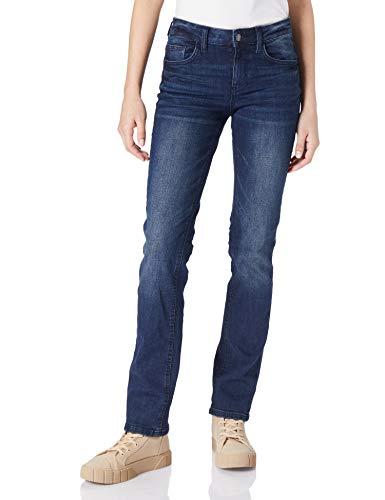 TOM TAILOR Damen 1024891 Alexa Straight Jeans, Dark Stone Wash Denim, 27W / 32L