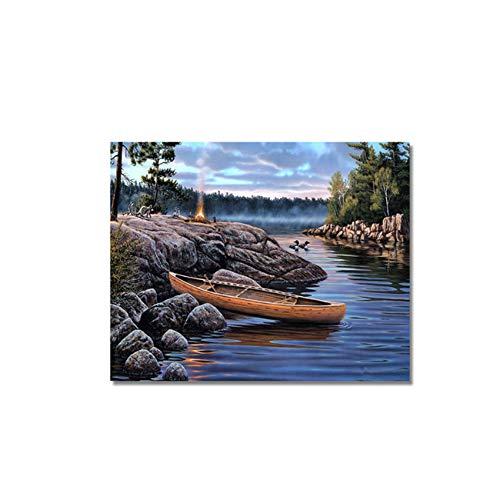 HYFBH Pintura al óleo sobre Lienzo Paisaje de árbol de Coco en Kits de Lona para Colorear Imagen de…
