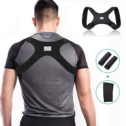 Charminer Fijador recto de corrección de postura, adecuado para dispositivo de entrenamiento de espalda correa de hombro, asiento recto transpirable ajustable negro para hombres y mujeres
