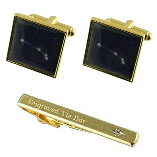 Zodiaque signe Bélier Anniversaire Star Gold Cufflinks gravée Coffret Cravate