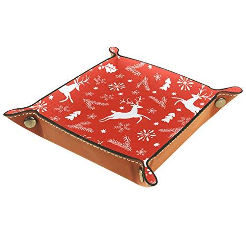 AITAI Bandeja de valet de cuero vegano organizador de mesita de noche para escritorio, plato de almacenamiento Catchall naranja, diseño de hojas de alce de ciervo