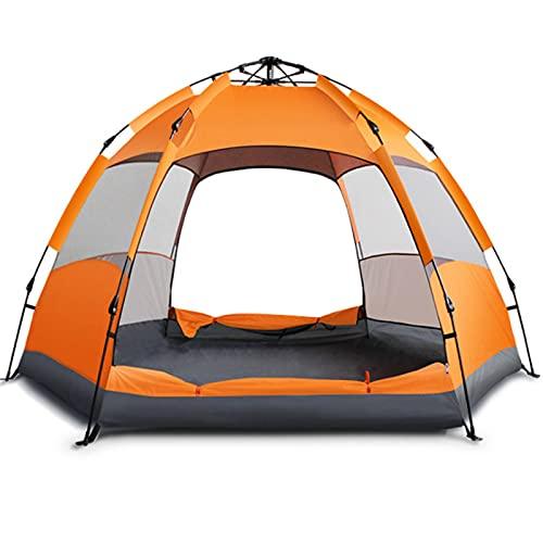 0℃ Outdoor Camping Tente pour 5-8 Personnes, Tente Dôme étanche et Anti-UV Ultra Légère, Tentes Dôme Couche Tente Imperméable, Ventilée pour Pique-Nique, Randonnée, Camping,Orange