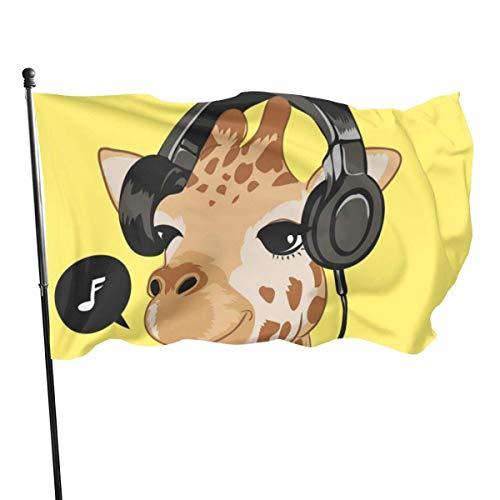 Cy-ril Nette Giraffe liebt Musik Fly Breeze 3X5 Fuß Polyester Flagge, verblassen beständig dauerhafte Gartenflagge