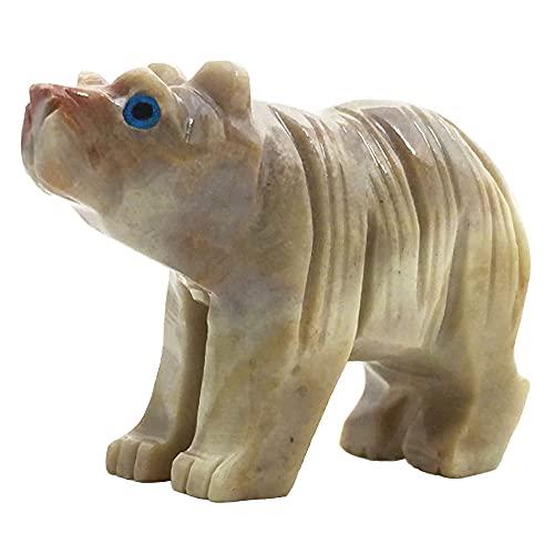 Nelson Creations, LLC Urso Natural Pedra Sabão Esculpida à Mão Pingente Animal Totem Pedra Esculpida Estatueta de Pedra, 5 cm