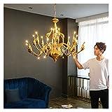 Lampadari a LED, Lampadari Creativi Moderni del Cigno del Ferro Ristorante di Arte di Lusso Salone di Illuminazione del Lampadario della Villa (Color : GoldWarmwhiteG4bulbs, Size : 24Heads)