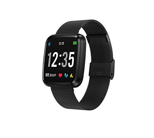 novasmart - runR III Smartwatch Fitness Tracker HD-Farbbildschirm Fitness Armband Uhr mit Pulsmesser, Schlafmonitor, Sportuhr, Schrittzähler für Android und iOS, Metall schwarz