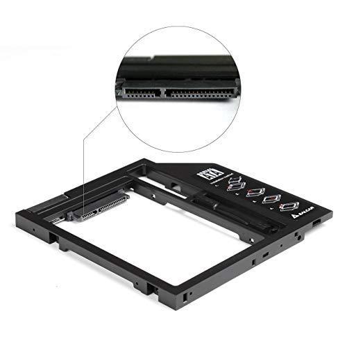 SALCAR 2nd HDD/SSD SATA 3.0/2.HDD ODD SATA III Laufwerkschacht Adapter/Serial ATA Caddy für 9,5mm SATA 2,5 Zoll Festplatte (Aluminium)
