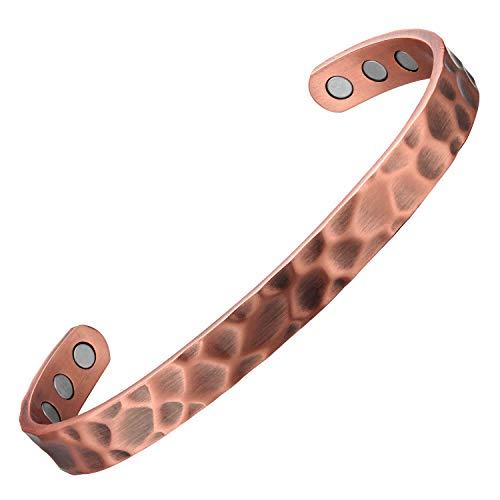 Pulsera de cobre martillado para mujeres y hombres Terapia magnética para artritis