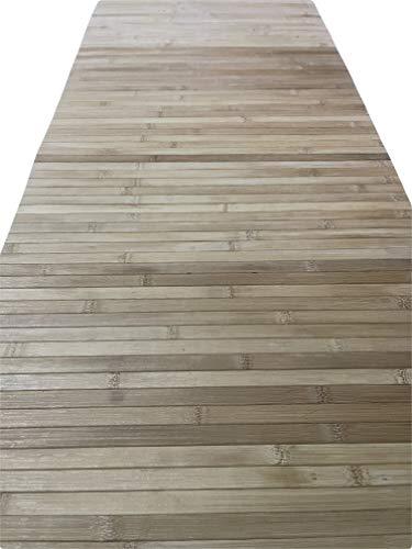 Tappeto bamboo a METRAGGIO vari colori disponibili ANTISCIVOLO (cucina bagno camera sauna) (Legno Chiaro)
