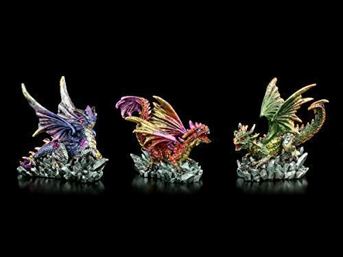 Kleine, Bunte Drachen-Figuren - 3er Set   Fantastische Kreaturen und Dekofiguren, handbemalt