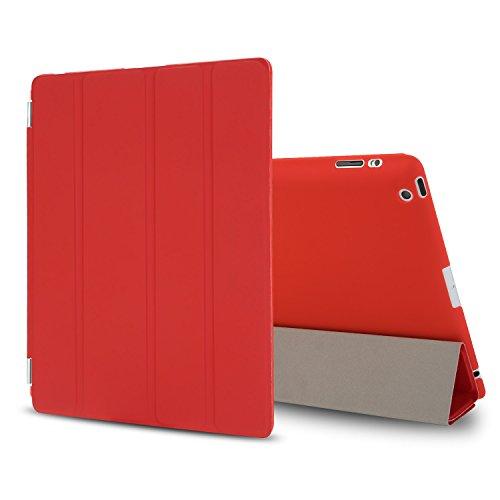 Besdata iPad 2 3 4 Hülle Smart Cover Schutz Hülle Leder Tasche Etui für Apple iPad Ständer Sleep Wake mit Bildschirmschutzfolie Reinigungstuch Stift Rot