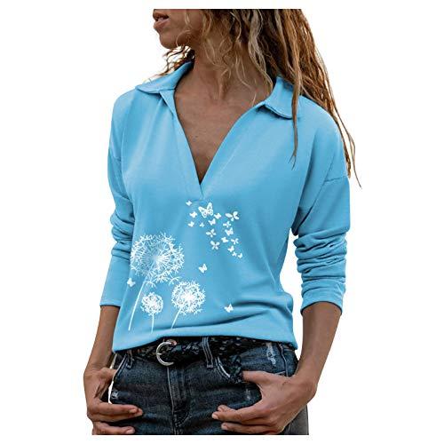 Langarmshirts für Damen Lose Jumper Sweatshirt Pullover Bluse Oberteile Oversize Tops Print Langarm Turn-Down Kragen Bluse Pullover Tops Shirt (5XL,1Blau)