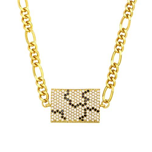 SALAN Collar De Mano De Hamsa Fatima con Cadena Gruesa De Oro para Mujer, Collar con Colgante De Ojo Malvado Cuadrado Cz, Joyería