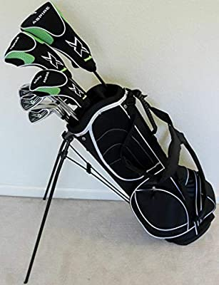 """Tour Precision Tall Mens Golf Set All Graphite Shafts Driver, Fairway Wood, Hybrid, Irons, Putter, Stand Bag Clubs +1"""" Length"""