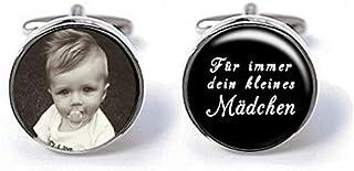 Manschettenknöpfe Vater der Braut, mit foto, Für immer dein kleines Mädchen schwarz