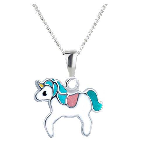 SL-Silver Set Catena Ciondolo a Forma di Bambino Dura Unicorno 925Argento in Confezione Regalo