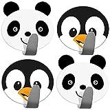 Tatkraft Friends Confezione da 4 Ganci Autoadesivi per Bambini, Ideale per Asciugamani e Accappatoi, Realizzato in Acciaio Inossidabile, Set di 2 Panda 2 Pinguini, Facile da Installare