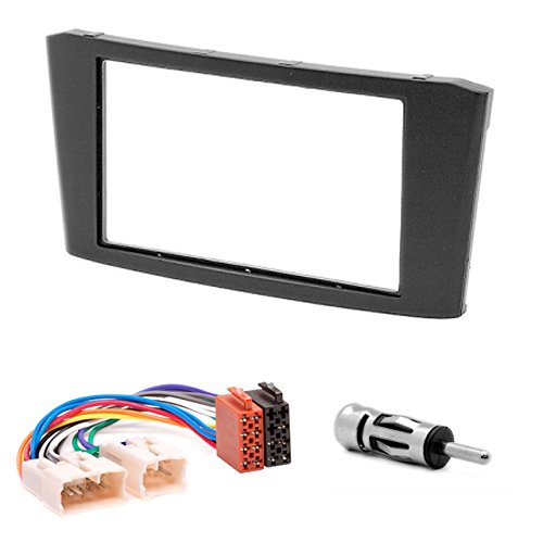 CARAV 11-108-22-6 Radioblende Car 2-DIN in Dash Installation kit Set for Toyota Avensis 2002-2008 (Black) + ISO and Antenna Adapter Cable