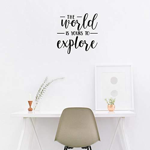 Wandaufkleber aus Vinyl, Motiv The World is Yours to Explore, 55,9 x cm, inspirierend, modernes Arbeitszimmer, Schlafzimmer, Wohnzimmer, Dekoration, Positive Innenbereich, Büro, Zuhause