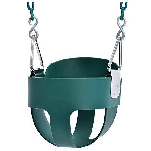 XIAOFEI Bucket Bucket with Chain Swing Interior, Exterior Hamaca CojíN De Silla Colgante Cesta Cojines Columpio Asiento CojíN Nido Grueso Espalda para Interior Al Aire Libre Patio JardíN,Verde