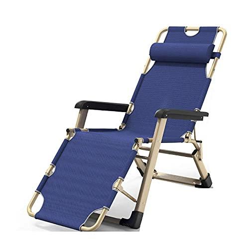 WGFGXQ Folding Recliner,Portable Adjustable Reclining Lounger, Garden Folding Chaise Lounger, Camping Recliner, Sun Patio Folding Beach Lounger-Blue