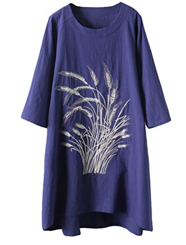 Minibee Women's Linen Dress Tunic Blouse Pullover Flower Embroidered High Low Shirt Navy L