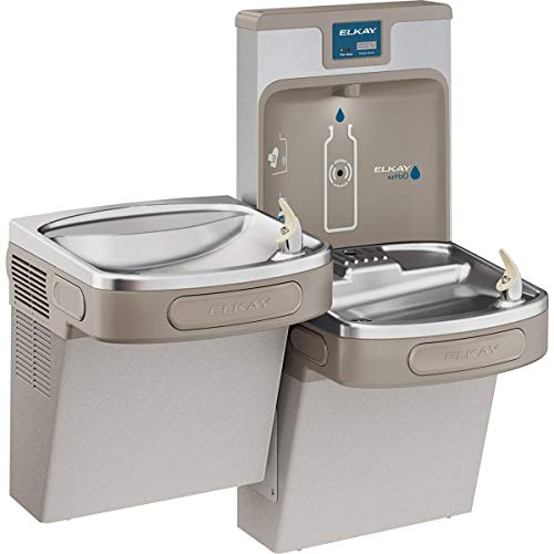 Elkay LZSTL8WSLP Enhanced EZH2O Bottle Filling Station, & Versatile Bi-Level ADA Cooler, Filtered 8 GPH Light Gray