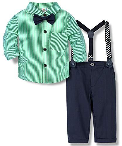 A&J DESIGN Baby Junge Gentleman Anzug Baumwolle Langarm Shirt mit Hose, Hosenträger und Krawatte, Neugeborene Outfits Set für Hochzeit Geburtstagsparty Fotoshooting(Grasgrün, 9-12 Monate)