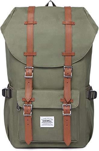 KAUKKO Rucksack Damen Herren Schön und Durchdacht Daypack mit Laptopfach für 14 Zoll Notebook für Schule,Uni, 22L (Grün)
