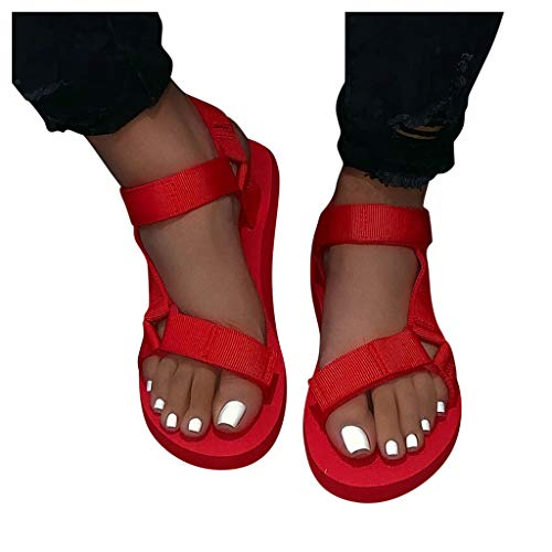 Sandals for Women Dressy,Women's Ladies Fashion Casual Solid Open Toe Platforms Sandals Beach Shoes Red